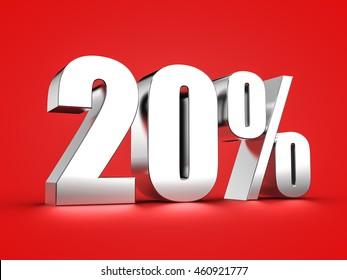 3D Rendering of a twenty percent symbol