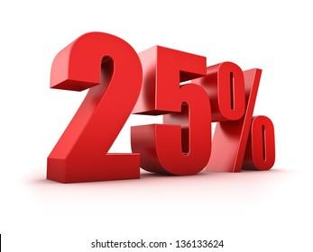 3D Rendering of a twenty-five percent symbol