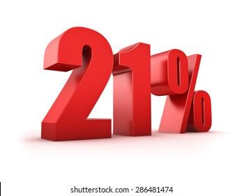 3D Rendering of a twentyone percent symbol