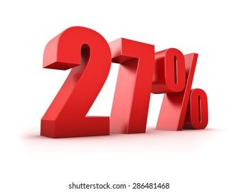 3D Rendering of a twentyseven percent symbol