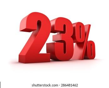 3D Rendering of a twentythree percent symbol