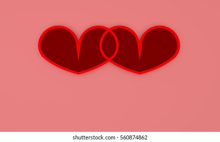 3d rendering of  twin red heart for valentine day with pink background