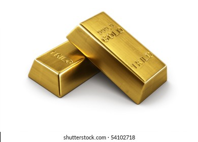 3d rendering of two gold bars