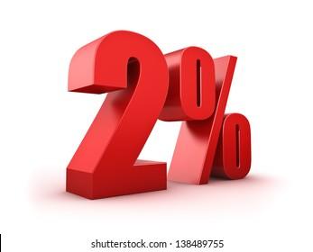 3D Rendering of a two percent symbol