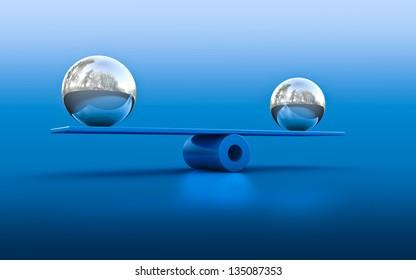 3d rendering of two spheres in balance