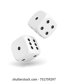 3d rendering of two white dice hanging on a white background. Gaming and gambling. Random numbers. Luck and chance.