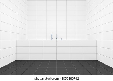 3d rendering of a typical white tiled bathroom side view to the tub