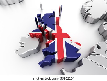 3d rendering of United Kingdom