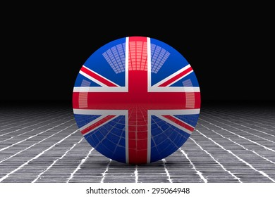 3d rendering of an united kingdom flag on a sphere on a tiles floor