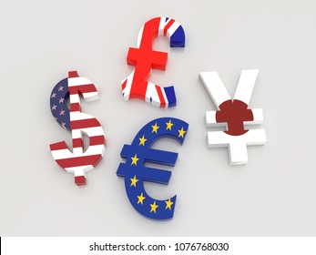 3D rendering of USD, Euro, Yen and British Pound currency symbols wrapped around with national flags on white background