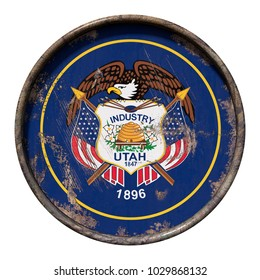 3d rendering of an Utah State flag over a rusty metallic plate. Isolated on white background.