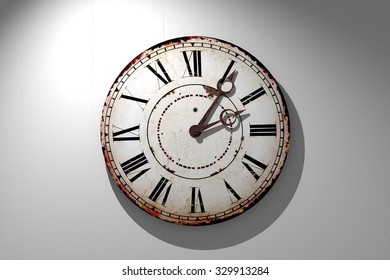 3d rendering of a vintage clock on a white wall