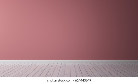 3D Rendering of wall color pastel pink red timber wood floor vintage interior illustration