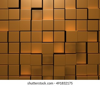 3D Rendering of wall of uneven gold tiles or bricks