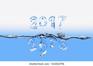 3D rendering of water surface with the numbers of 2016 splashing into water and 2017 floating above the water surface. All the numbers appear also as made of water.