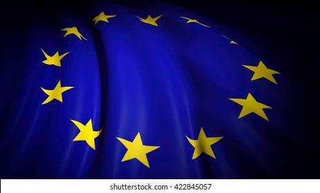 3D rendering of wavy EU  flag, closeup background