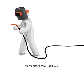3d rendering; A welder concept image. Isolated on white background.