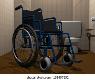 3D rendering of a wheelchair in a handicapped toilet