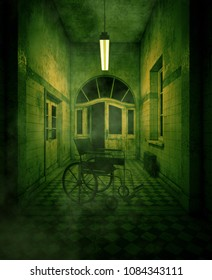 3d rendering of a wheelchair in haunted house or asylum