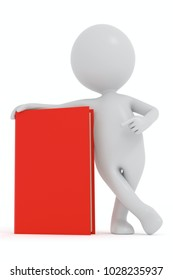 3D rendering white cartoon man points to a red book