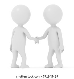 3D rendering  white cartoon man Shaking hands
