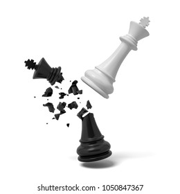 3d rendering of a white chess king breaks a black king that cracks and falls on a white background. Fight for dominance. Board games. Life strategy.