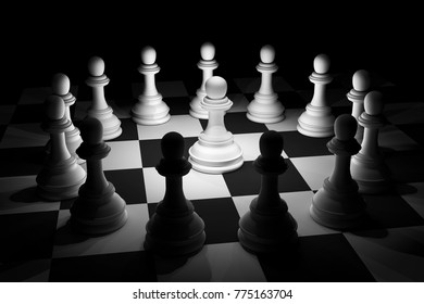 3D rendering White Chess in Spotlight Surround on Chess Board in Concept of Standing out of Crowd or Team Leader Business Strategy Idea.