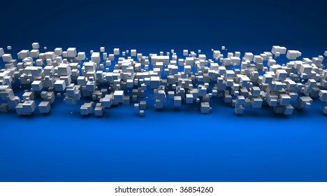 3D rendering of white cubic particles against a blue background