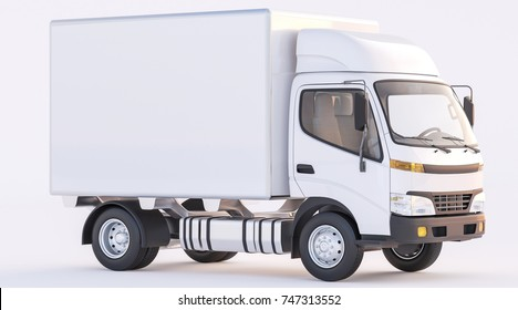 3d rendering of White Delivery Truck with Sunlit Passenger Cabin