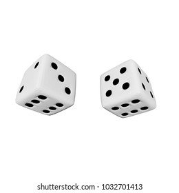 3D rendering. white dices with black points. isolated on a white background.