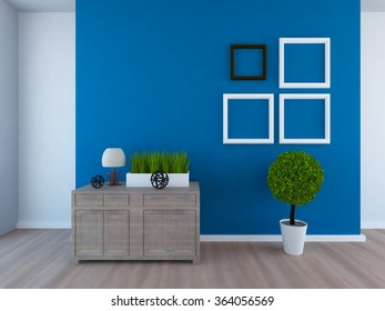 3D rendering of a white empty interior with a blue wall and frames on it
