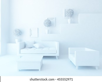 3D rendering of a white empty interior with a sofa