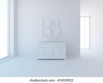 3D rendering of a white empty interior with a dresser