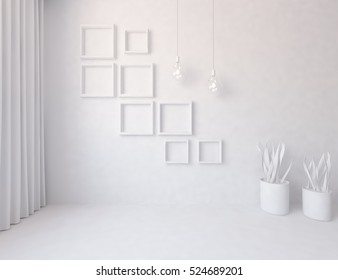 3D rendering of a white empty interior with vases.