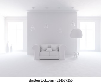 3D rendering of a white empty interior with a sofa and vases.