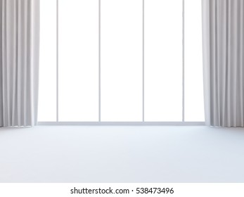 3D rendering of a white empty interior with curtains