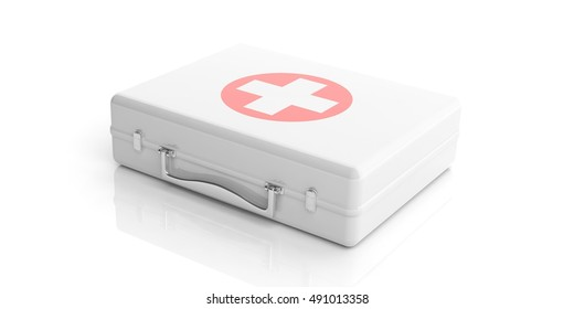 3d rendering white first aid kit on white background