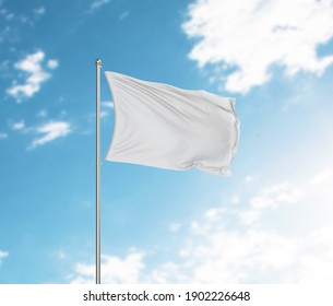 3d rendering White flag waving in the wind on flagpole. Sky with clouds background