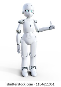 3D rendering of a white friendly cartoon robot doing a thumbs up. White background.