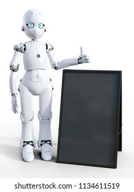 3D rendering of a white friendly cartoon robot standing next to a blank sandwich board and doing a thumbs up. White background.