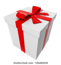 3D Rendering of a White Gift Box with Red Ribbon and Bow, Perspective View | Image
