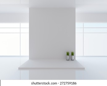 3D rendering of a white interior