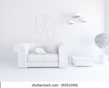3D rendering of a white interior with a sofa