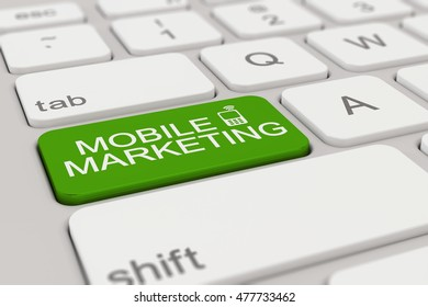3d rendering of a white keyboard with green mobile marketing button, business concept.