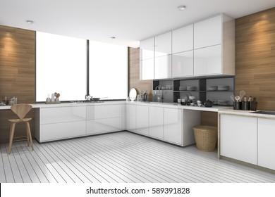 3d rendering white modern ethnic kitchen with wood design