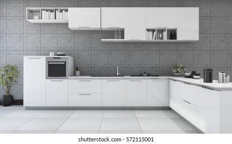 3d rendering white modern kitchen in loft style room