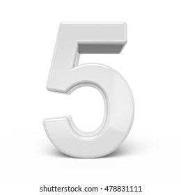 3D rendering white number 5 isolated on white background