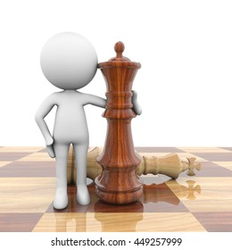 3D Rendering white person with chess pieces