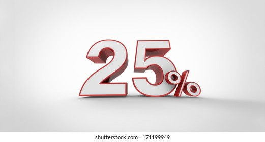 3D rendering of a white and red percent symbol
