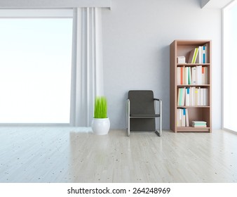 3d rendering of a white room